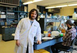 Le chercheur Patrick Narbonne dans son laboratoire.