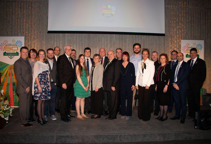 Plusieurs lauréats lors de la cérémonie Distinction UQTR 2019. Photo: Josée Beaulieu